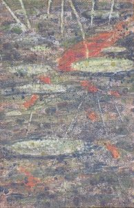 """Lily pads and Gold Fish III   4"""" x 6""""  acrylic on canvas panel by Ruth 1997"""