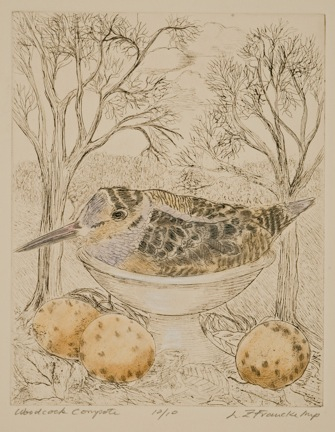 """Woodcock Compote Hand tinted etching 8""""x6"""" Louise Francke"""