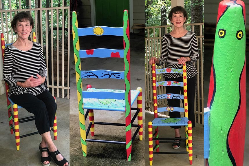 Betsy Vaden With Her Completed Ladderback Chair