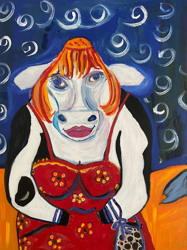 Painting of a cow wearing a wig and dress