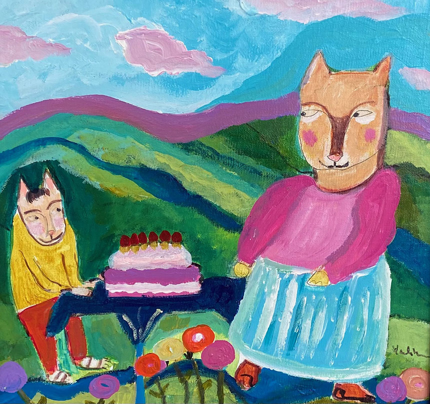 Painting Of A Cat Birthday Party
