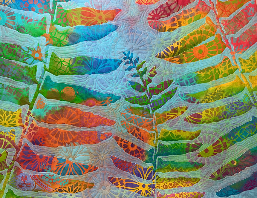 Colorful Quilt With Ferns On It By Susan Brubaker Knapp