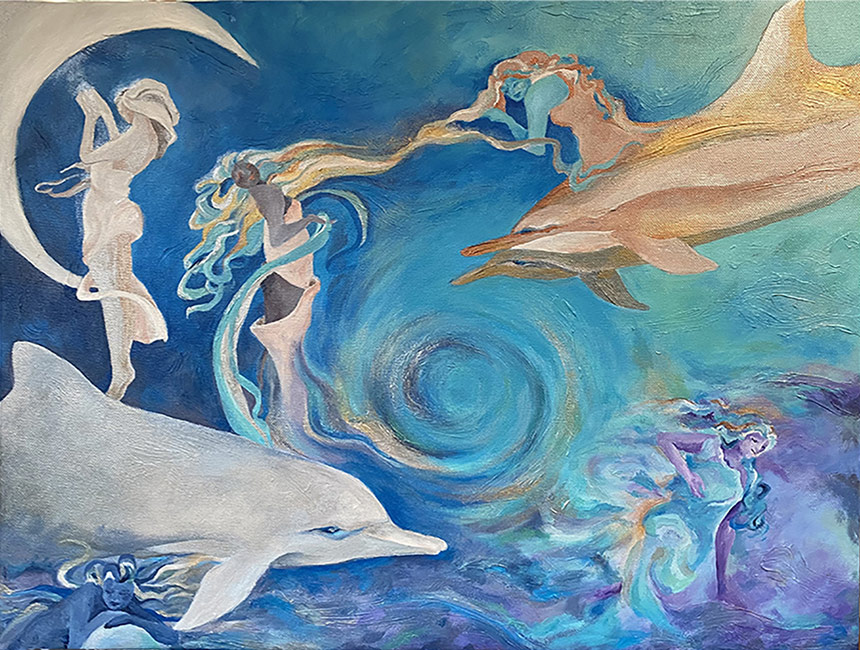 Painting By Nadine Zenobi Showing Dolphins And Women