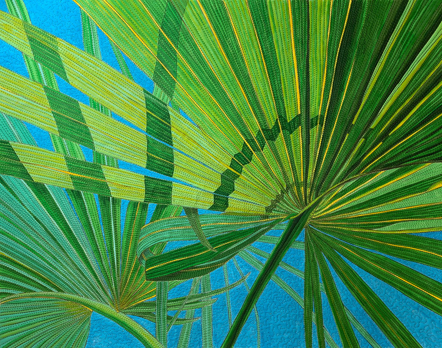 Quilt with palmettos on it by Susan Brubaker Knapp
